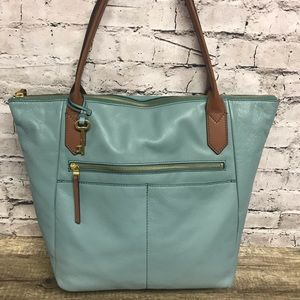 Fossil women's leather shoulder tote blue/ brown